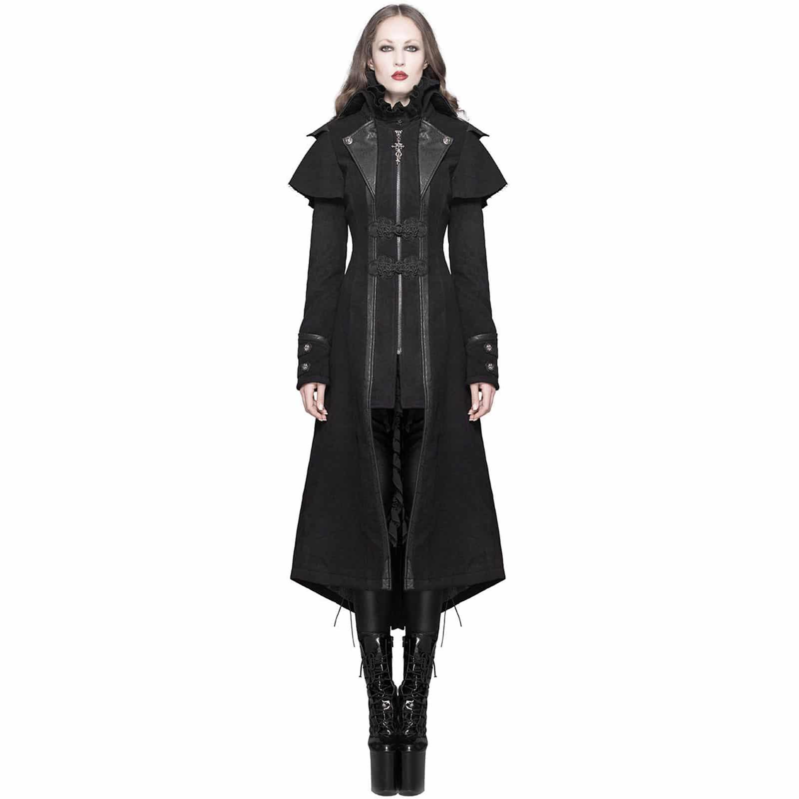 f1da5dd0748ed Womens Long Coat Jacket Black Gothic Steampunk Dieselpunk Winter