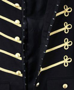 Napoleon Hook Jacket, Gold Embroidery Black Military jackets, Jackets for Men, Traditional Jackets