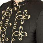 gold-flower-embroidery-black-military-napoleon-hook-jacket-close-up
