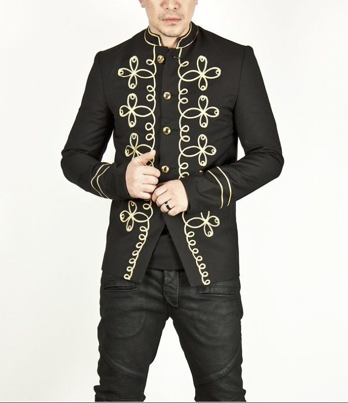 Napoleon Hook Jacket Flower, Gold Embroidery Black Military jackets, Jackets for Men, Traditional Jackets, Seampunk jacket for sale, buy steampunk jacket, gothic jacket for sale, buy gothic jacket, goth jacket for sale, buy goth jacket