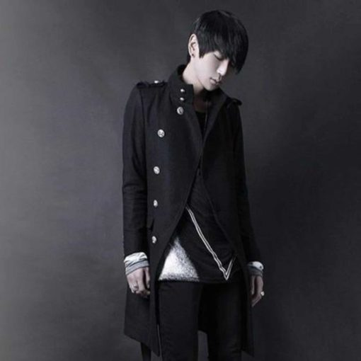 Punk Black Navy DoubleBreasted Fashion, Winter Jackets, best Jackets for Men, Gothic Clothing