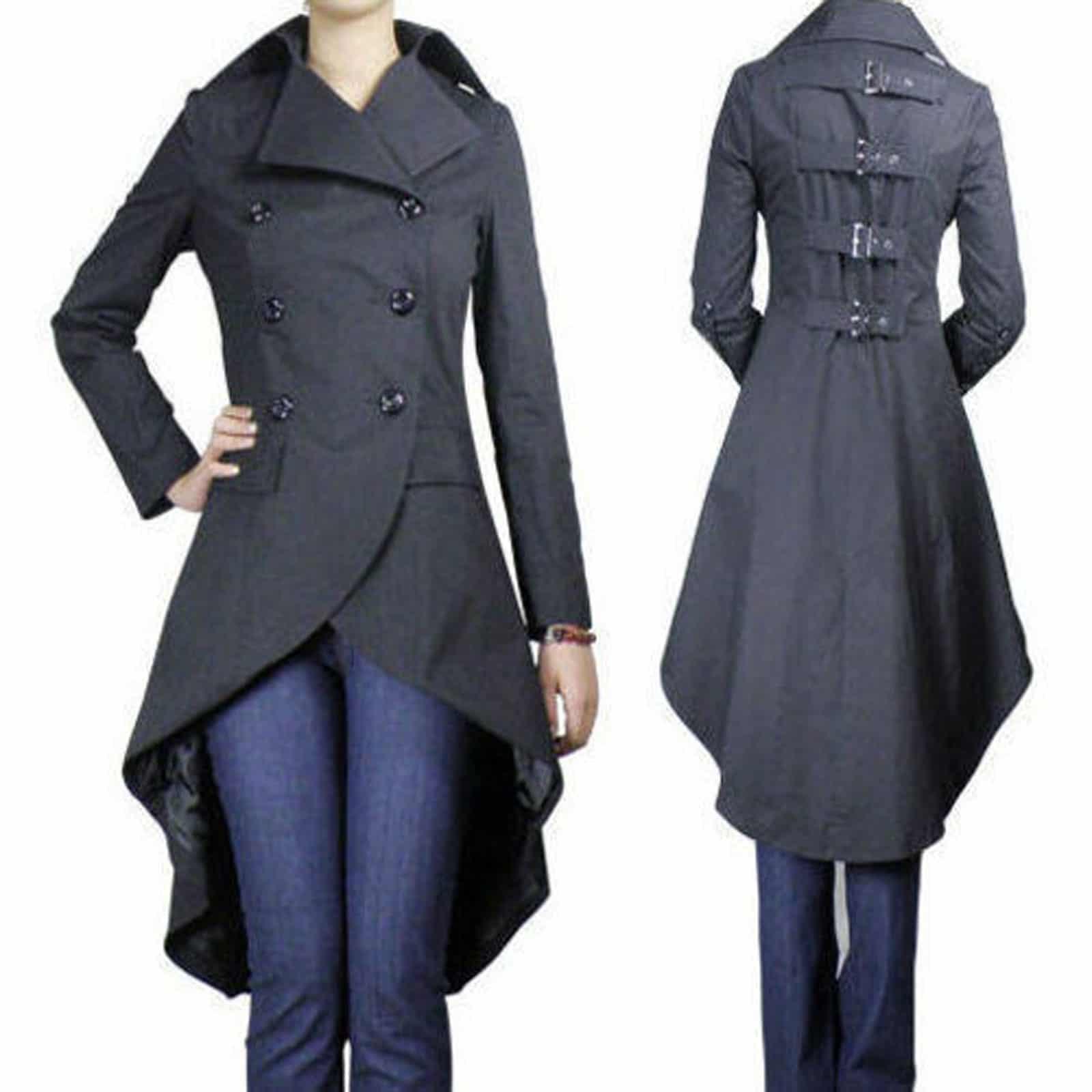 Gothic Punk Long Black Fishtail Coat/Long Jacket
