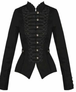 Black Gothic Steampunk Military Cotton, Tailcoat jackets, Gothic Jackets for Women