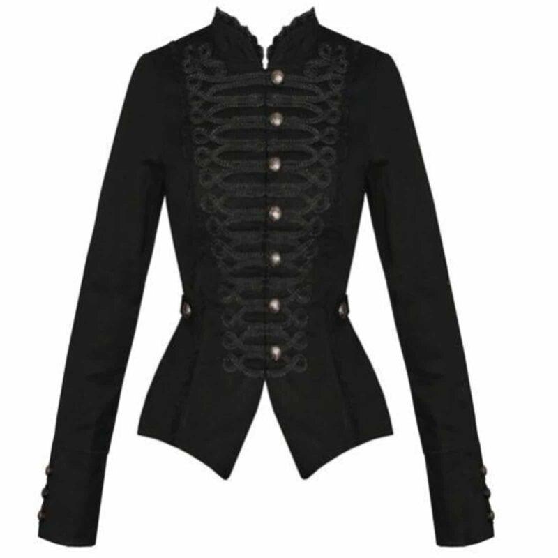 Black Gothic Steampunk Military Cotton, Tailcoat jackets, Gothic Jackets for Women, gothic jacket for sale, buy gothic jackets, gothic jacoet for sale, miliary jacket for sale, buy military jacket