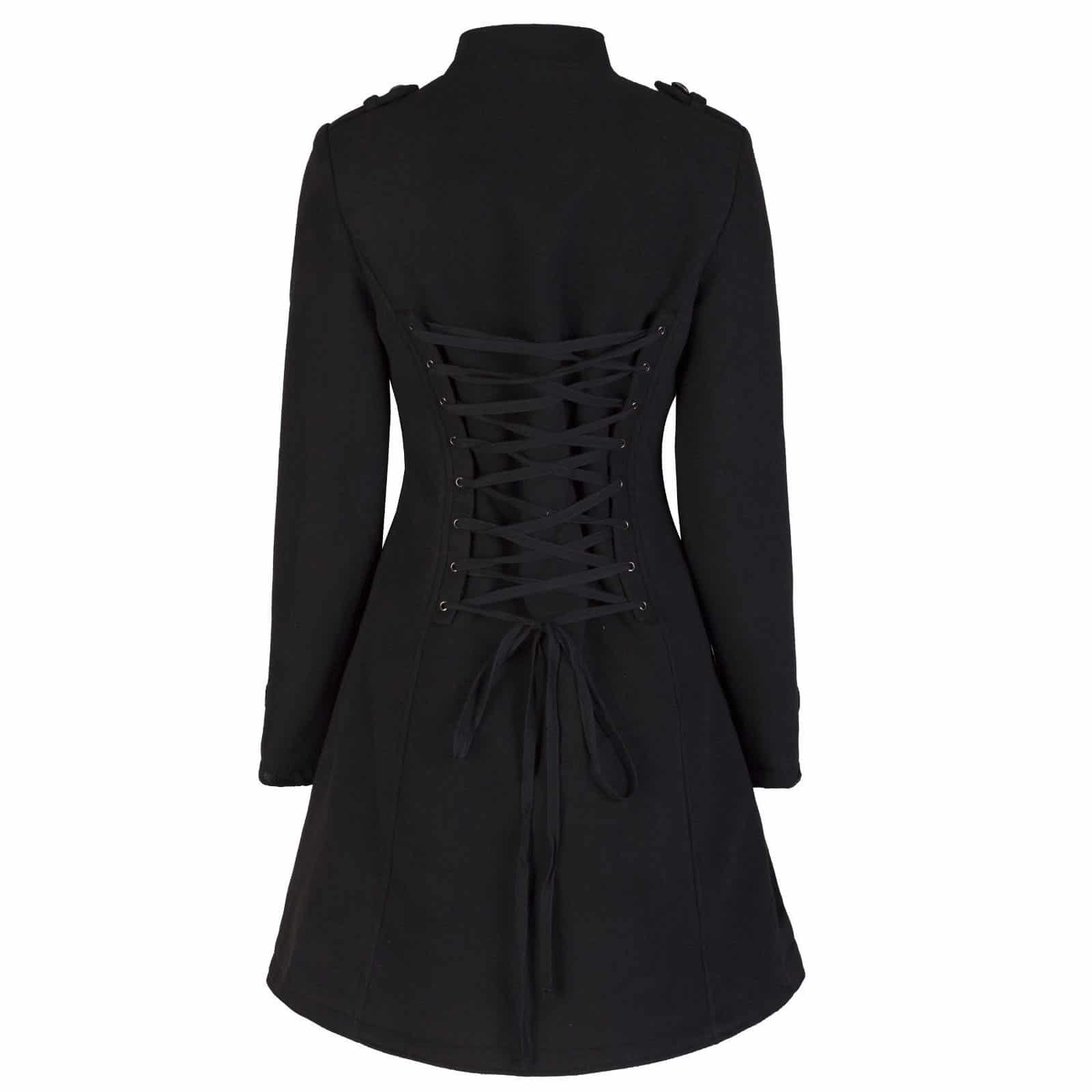 Ladies New Black Military Gothic Style Braided Wool Effect Coat Jacket