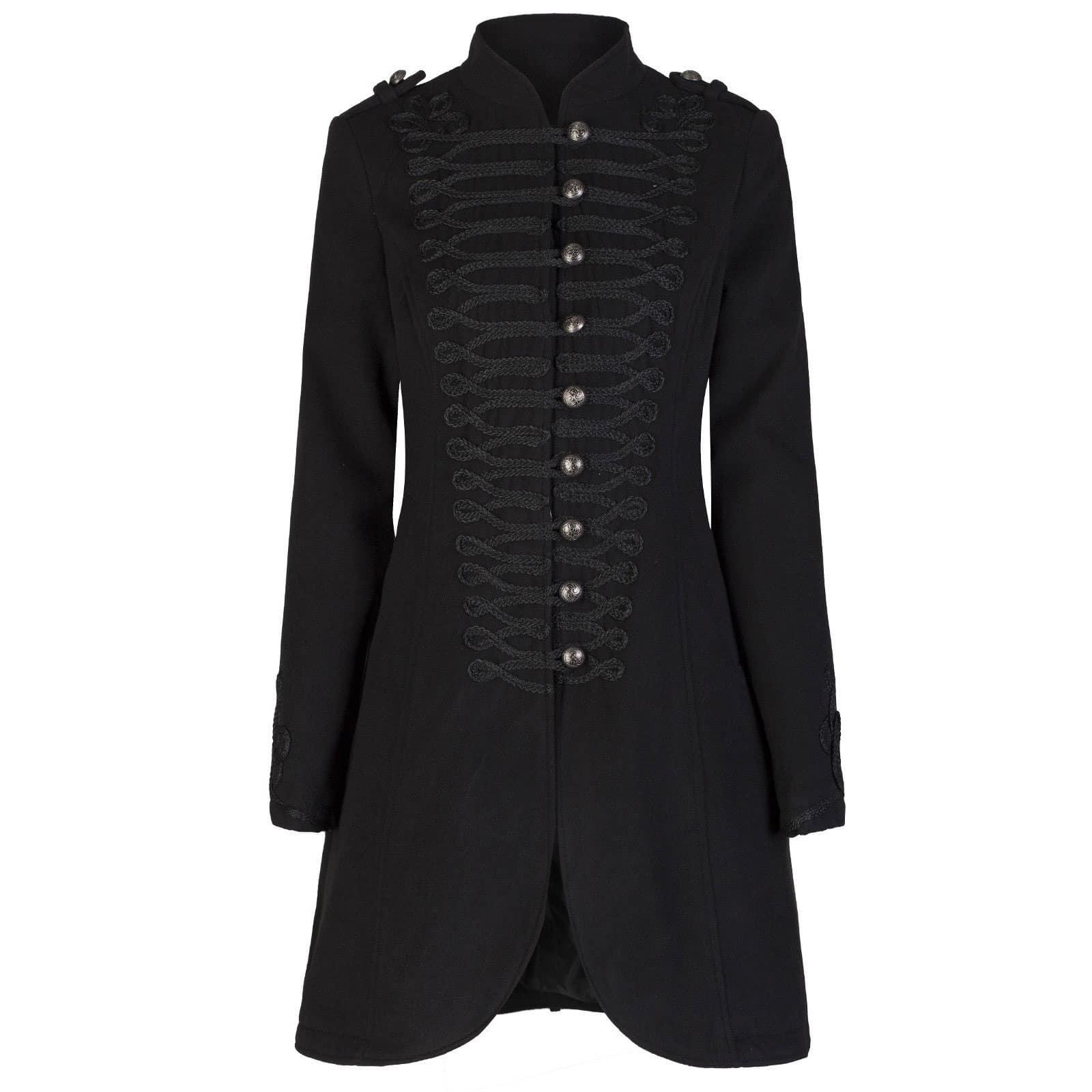 47c5e4d66 Ladies Black Military Gothic Style Braided Wool Effect Coat Jacket