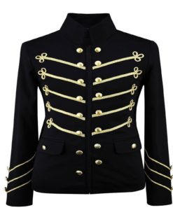 Gold Embroidery Black Military Jacket, Gothic Jackets for Men, Mens Jackets