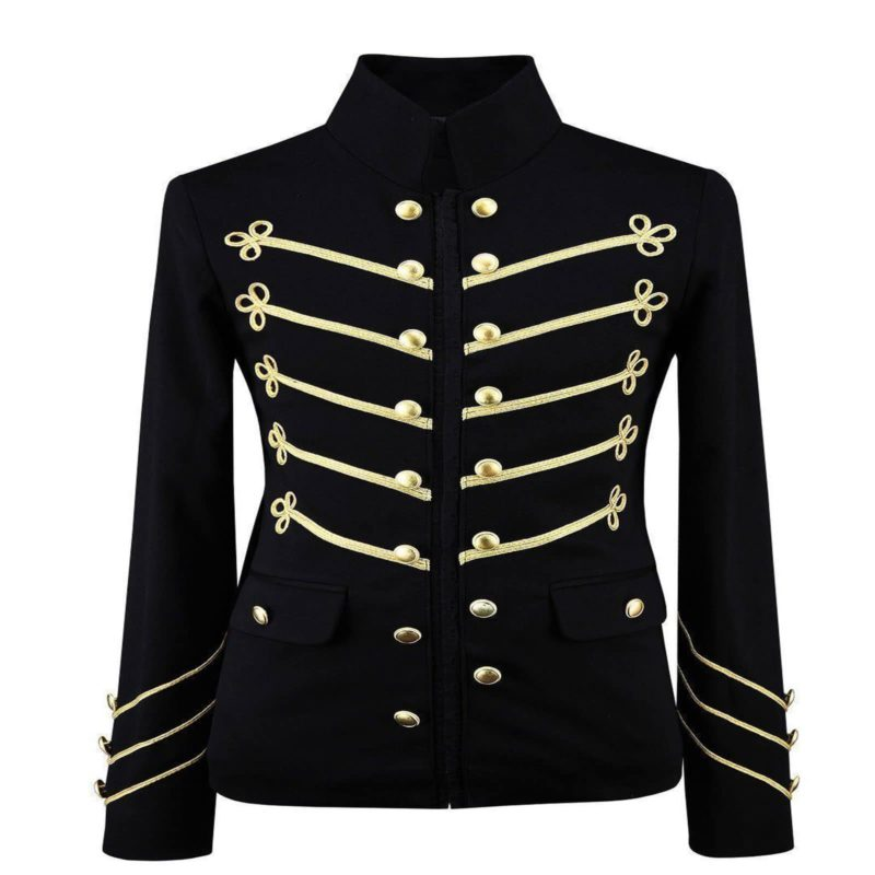 Gold Embroidery Black Military Jacket, Gothic Jackets for Men, Mens Jackets, gothic jacket for sale, buy gothic jackets, gothic jacoet for sale, miliary jacket for sale, buy military jacket