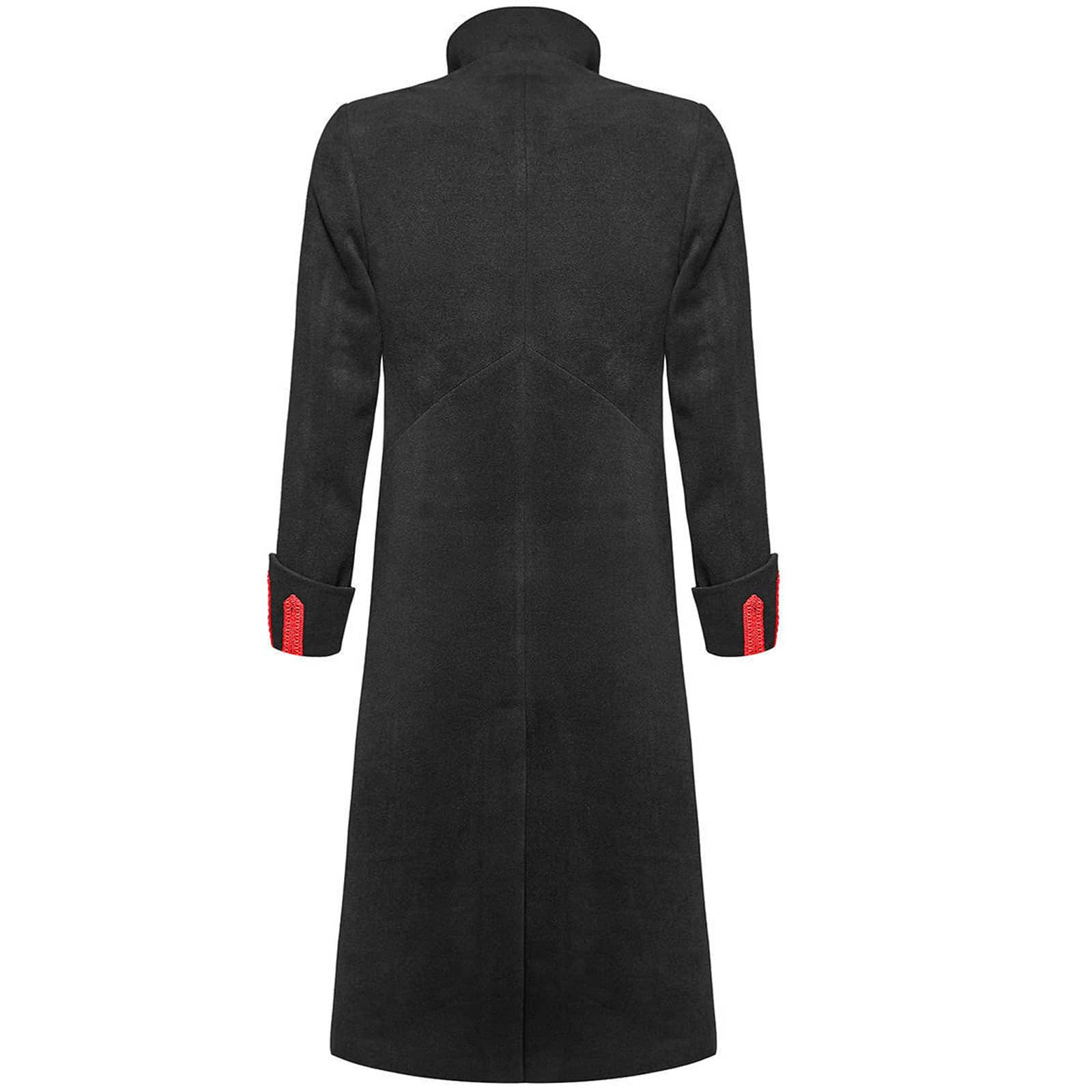 Black Red Military Long Coat Jacket Goth Steampunk Regency Aristoc