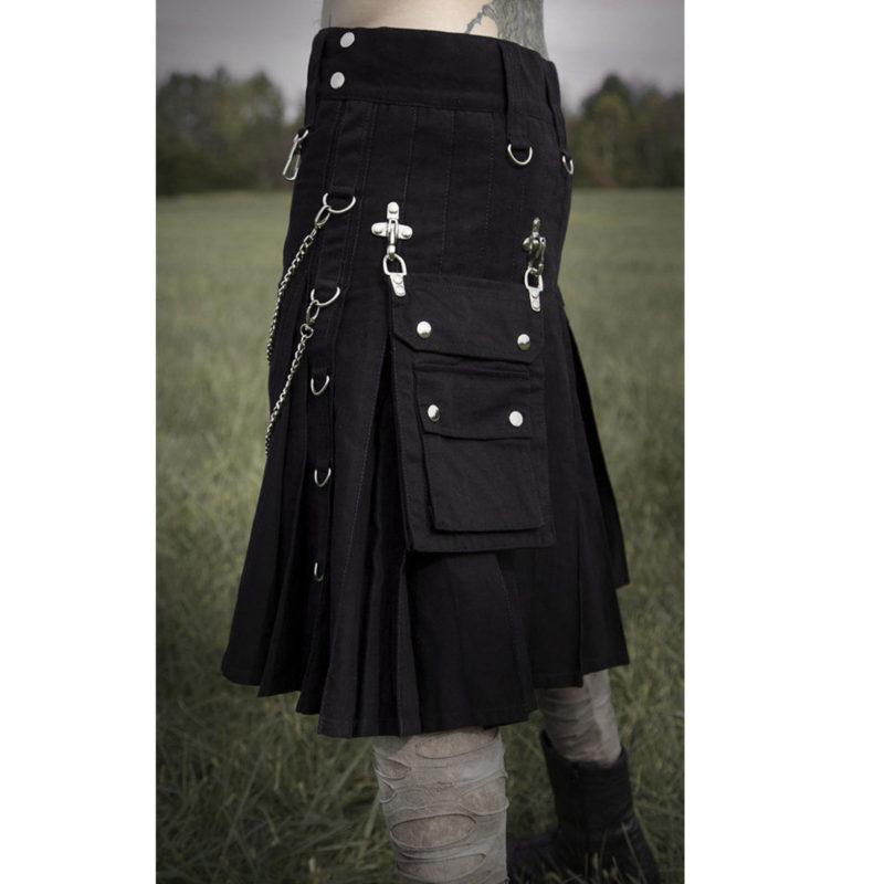 black kilt, gothic kilt, goth kilt, steampunk kilt, kilt for sale, black utility kilt, kilt for men