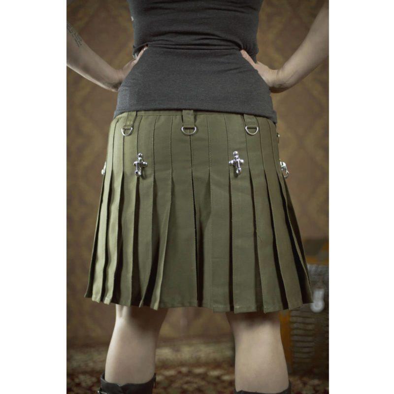 Drilled Cotton Fashion Utility Kilts, Women Utility kilts, best kilts for women, utility kilt for women, olive green kilt, olive green utility kilt