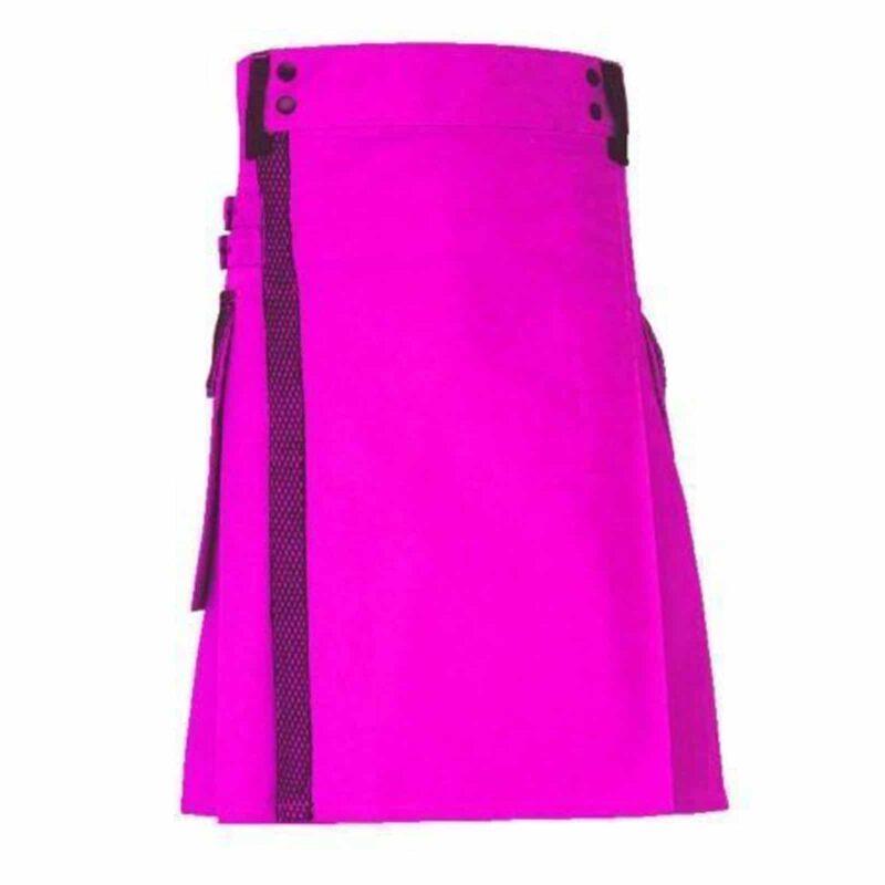 pink utility kilt, pink kilt, net pocket kilt, kilt for men, utility kilt, Pink utility kilt for sale