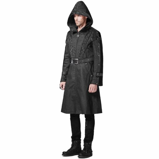 Punk Rave Mens Hooded Coat, Gothic Jackets for Men, Dieselpunk Punk Faux Leather, Best Jackets for Men