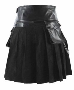 Scottish Black Leather Viking, Viking Gladiator Kilt, Kilt for Men, Best Kilts for Men