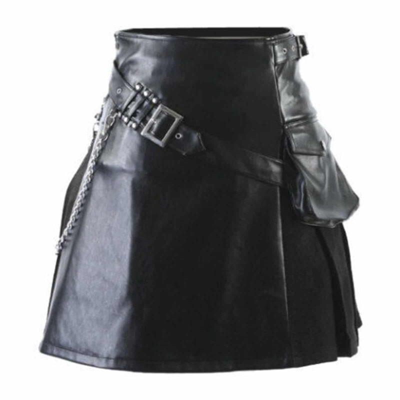 Scottish Black Leather Viking, Viking Gladiator Kilt, Kilt for Men, Best Kilts for Men