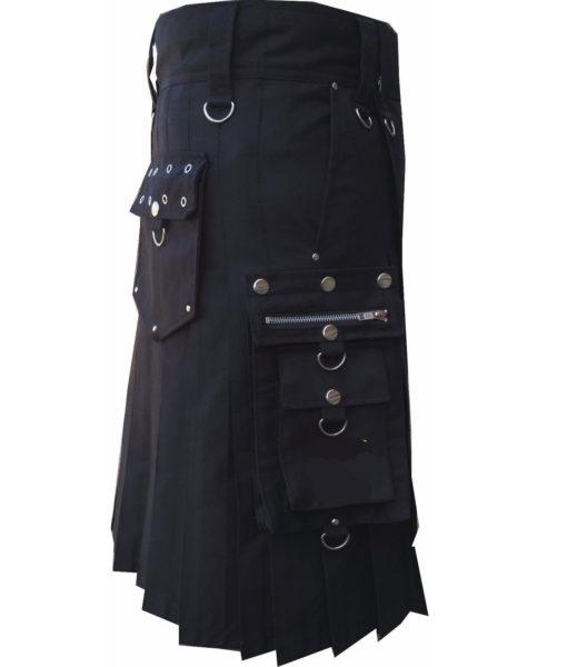 Deluxe Utility Sports Traditional Black Kilt, Traditional Kilt, Scottish Traditional Kilts, best Kilts for Men