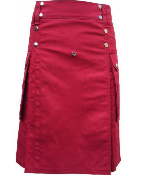 red utility kilt, red utility kilt for sale, Red kilt, red utility kilt for men
