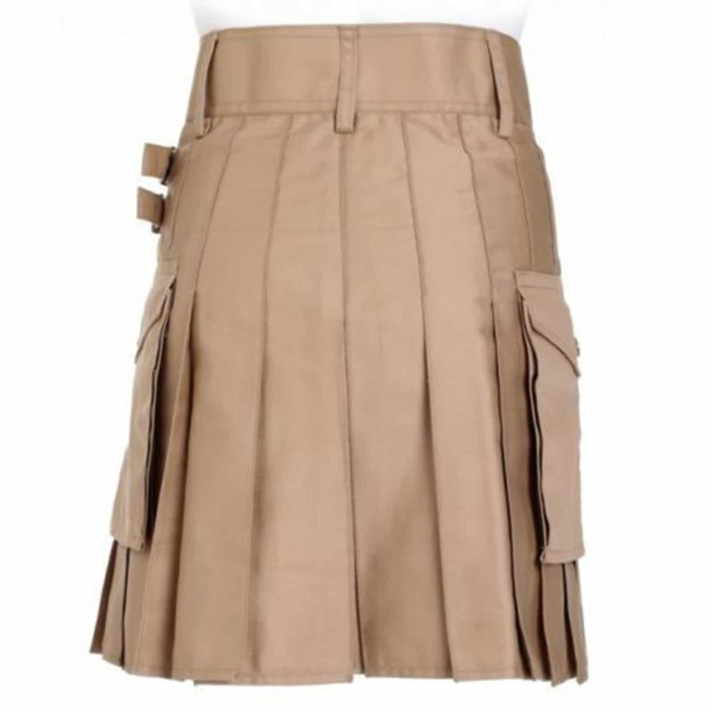 Khaki Leather Kilt, Leather kilt, Leather Utility kilt, Khaki leather kilt for sale, Kilt for sale, Utility Kilt for sale