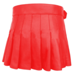 short-mini-red-leather-kilt-back