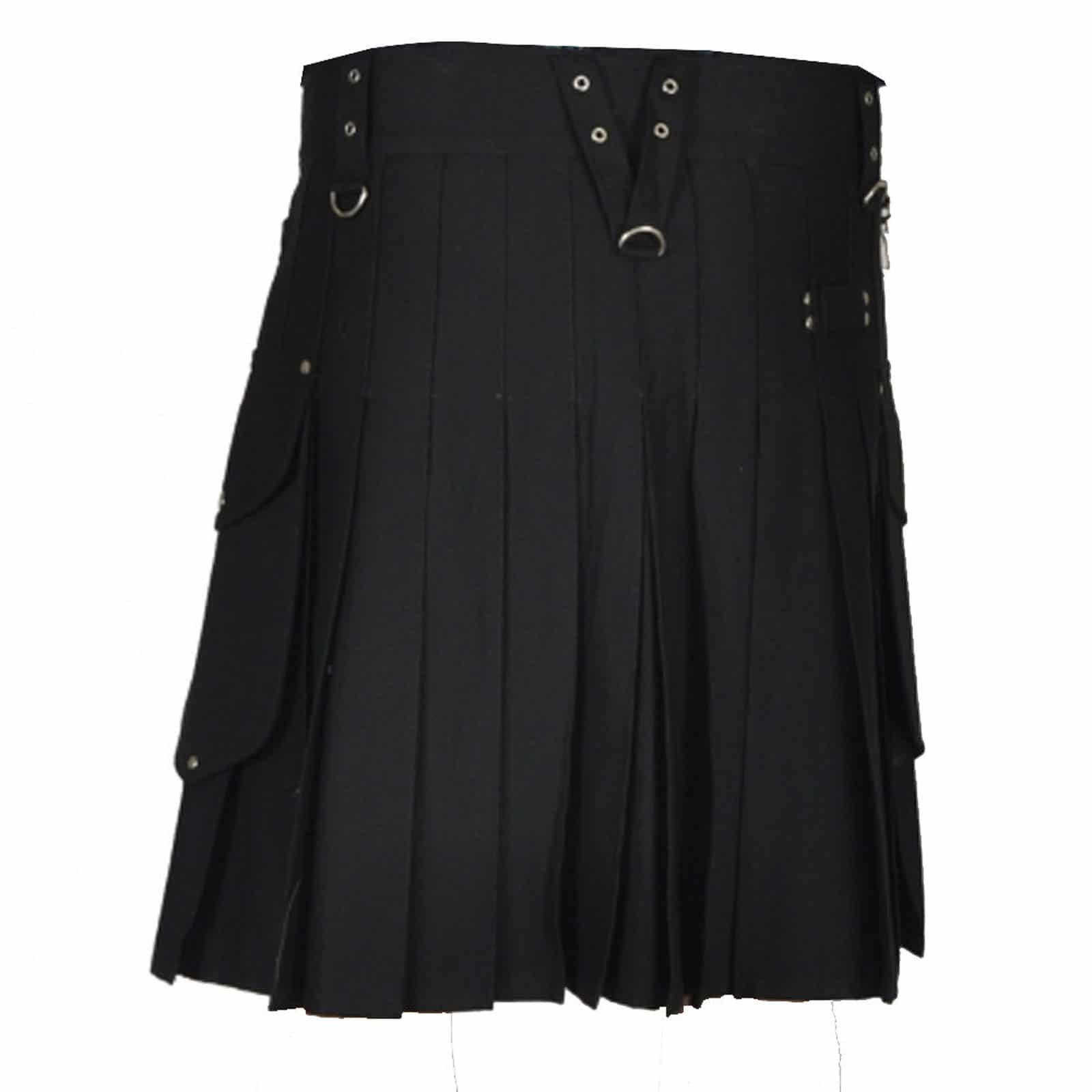 Stylish Black Utility Kilt, Utility Kilts for Men, Men Kilts, Best Mens Kilts