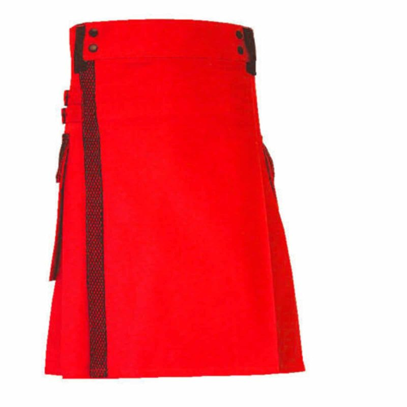 red utility kilt, red kilt, red utility kilt with net pocket, fashion kilt, cargo kilt, cargo pocket kilt