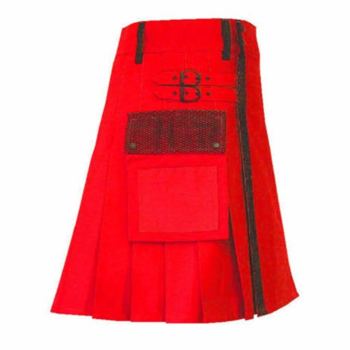 Red Net Pocket Fashion Kilt , Fashion Kilt, best kilts for Men, Fashion Kilts, Utility Kilts