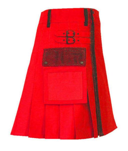 Red Net Pocket Fashion Kilt , Fashion Kilt, best kilts for Men, Fashion Kilts, Utility Kilts