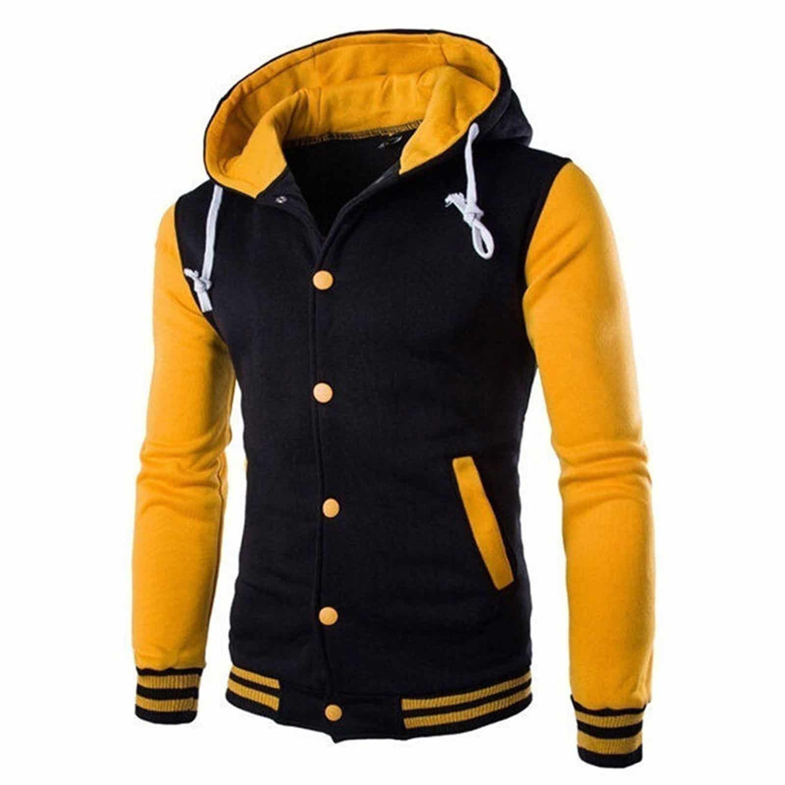 Unisex Varsity Style Fashion Letterman Baseball Jacket Yellow Kilt And Jacks