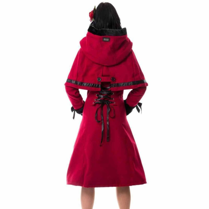 Red Coat Ladies Gothic Riding Hood , Vixxsin Elena , Faux Fur, Best Jackets for Women, gothic jacket for sale, buy gothic jackets, gothic jacoet for sale, miliary jacket for sale, buy military jacket