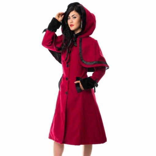 Red Coat Ladies Gothic Riding Hood , Vixxsin Elena , Faux Fur, Best Jackets for Women