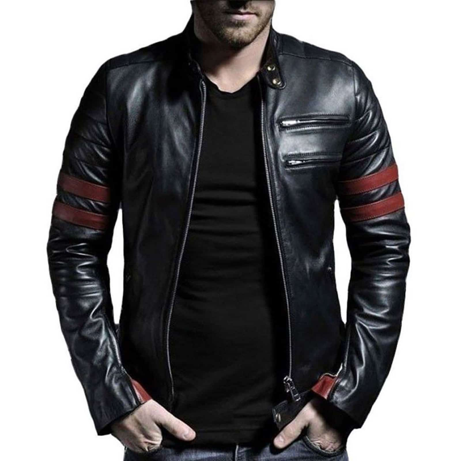 Leather Jacket with Straps | Men's Leather Jacket for Sale ...