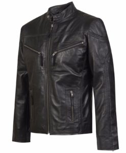 Black leather jacket with zipper pocket.