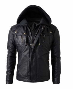 Brando jacket, leather jacket, biker leather jacket, hoodie jacket, leather hoodie jacket
