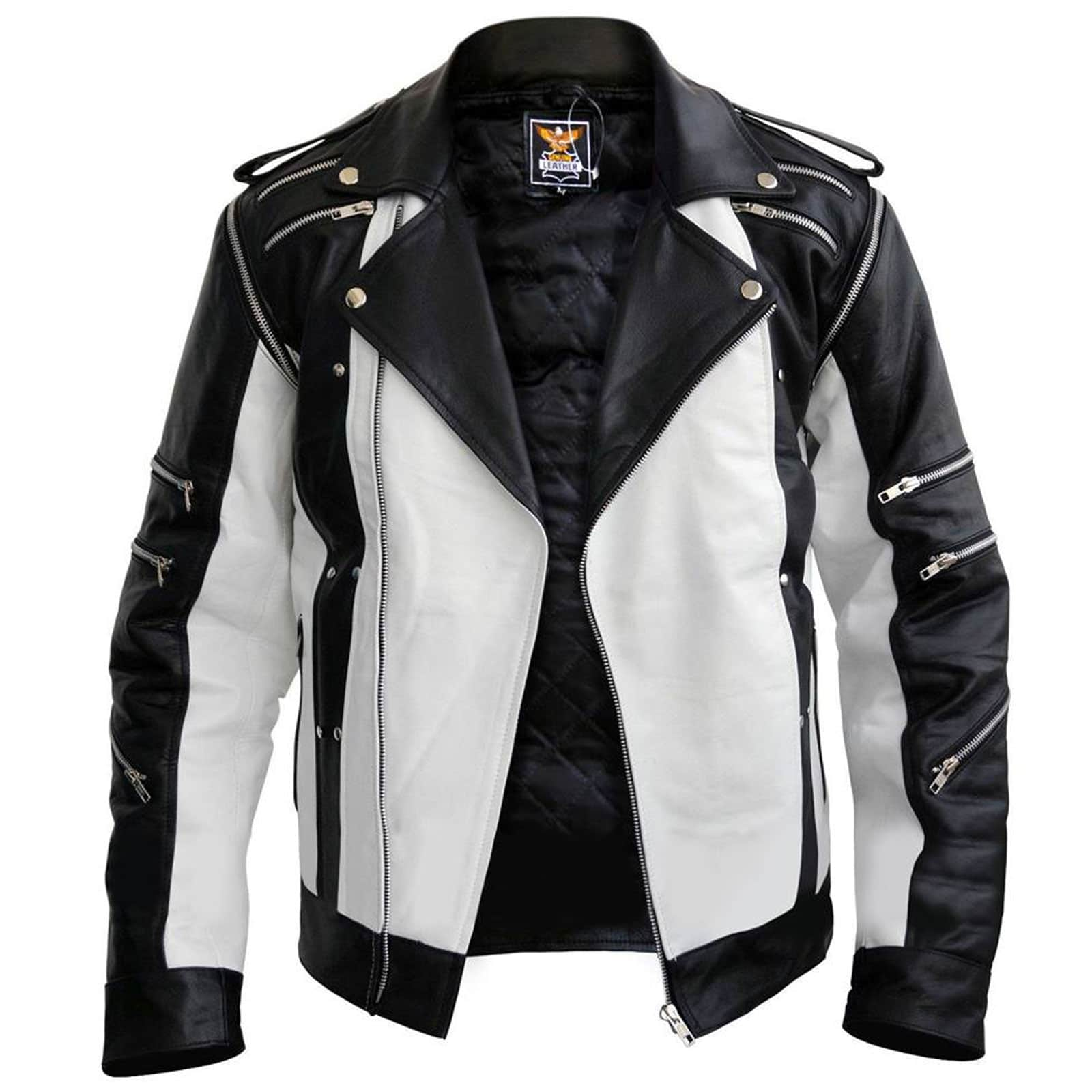 entire collection sale best shoes White and Black Pepsi Leather Jacket with Detachable Sleeves