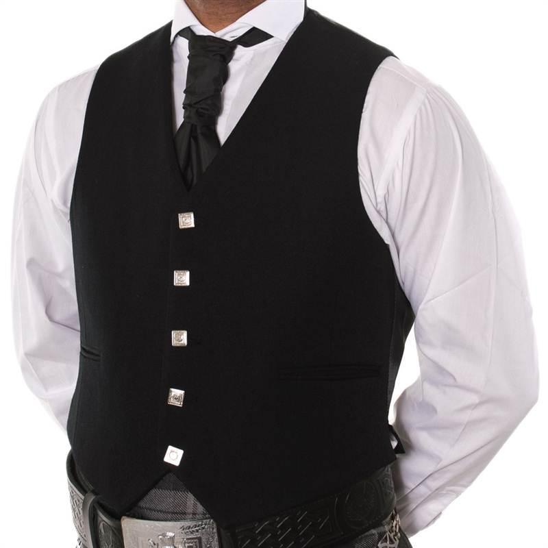 Black Argyle Kilt Jacket With 5 Button Vest