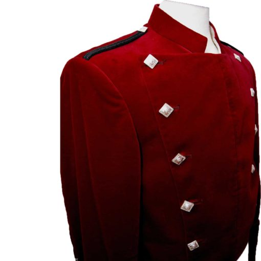 montrose velvet jacket, red montrose jacket, argyll jacket, scottish jacket