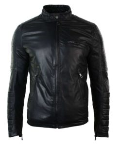 retro style jacket, leather jacket, black leather jacket, slim fit jacket