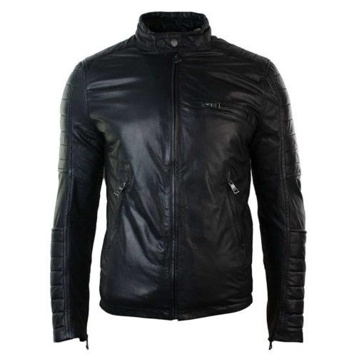 retro style jacket, leather jacket, black leather jacket, slim fit jacket