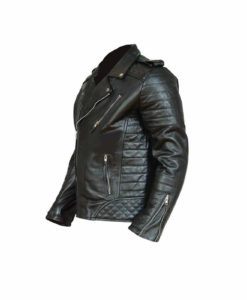 Black Classical Vintage Leather Jacket.