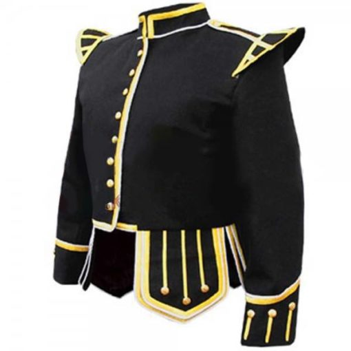 Black Fancy Doublet Piper Jacket with Gold Trim, doublets, fancy doublets, doublets