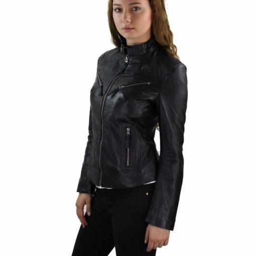 leather jacket, leather jacket for women, snap closure leather jacket, best leather jacket