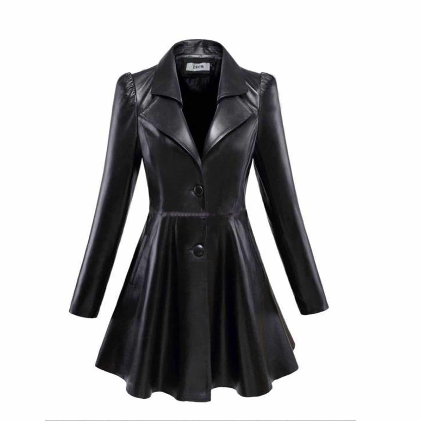 Womens long leather coats