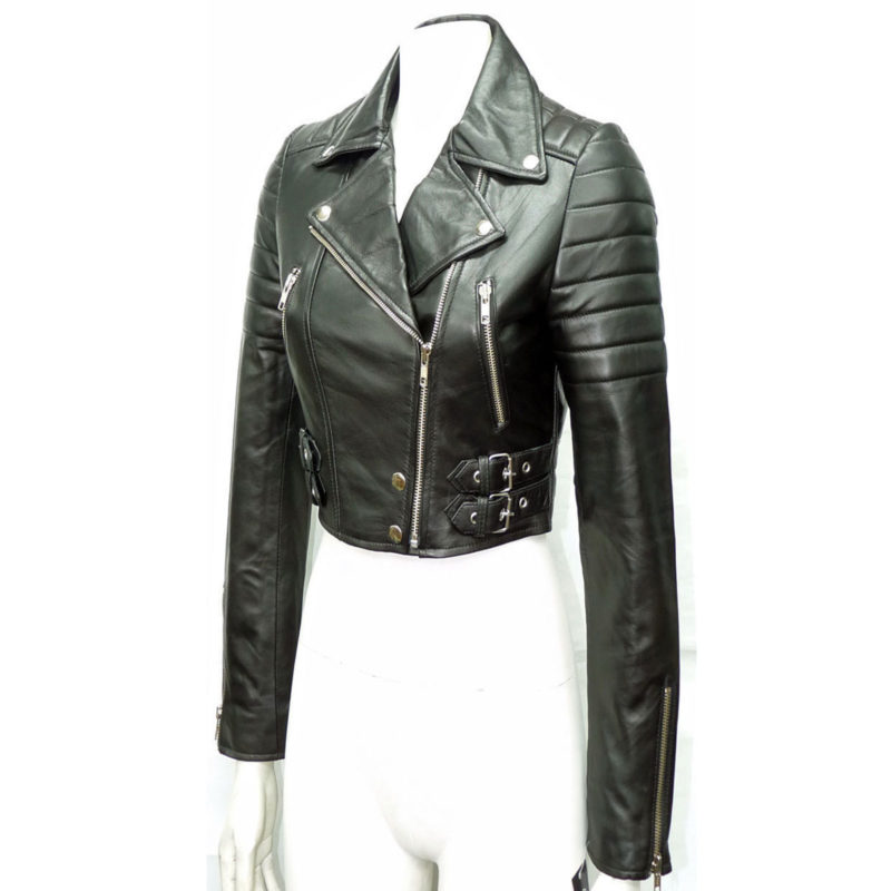 3ff9fa8ff Cropped Leather Biker Jacket