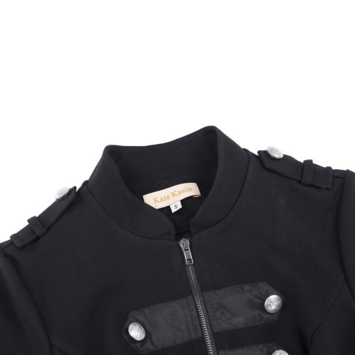 Mens Military Jacket Black Gothic Steampunk Emo Punk Pipers Drummer VTG Pea Coat