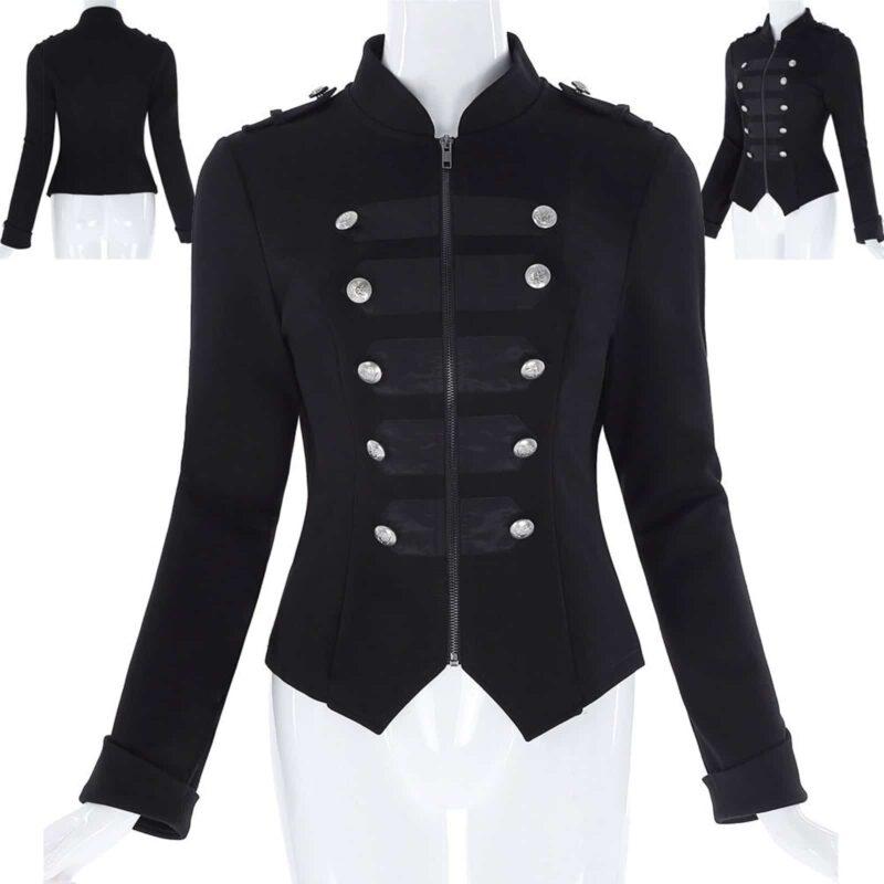 Steampunk Emo MCR Punk Gothic Military Jacket