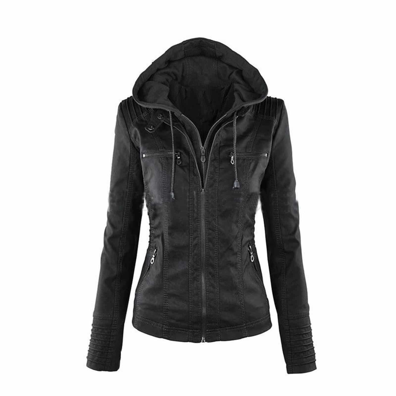 e6a3208f3 Hooded Leather Jacket for Women