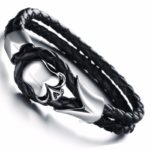 Braided-Leather-Skull-Cuff-Bangle-Stainless-Steel-Bracelet