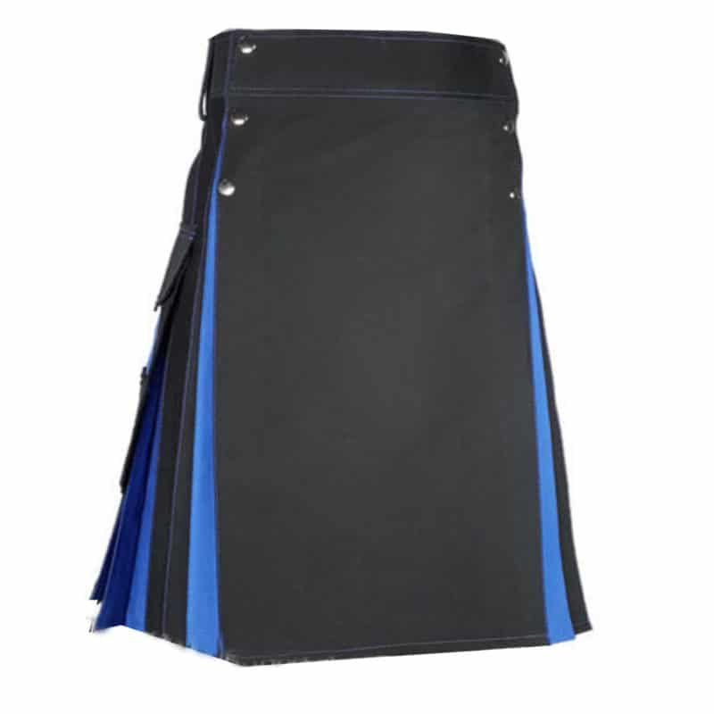 hybrid kilts, best kilts, kilts for sale, mens kilts, cotton kilts, black blue kilt, two toned kilts