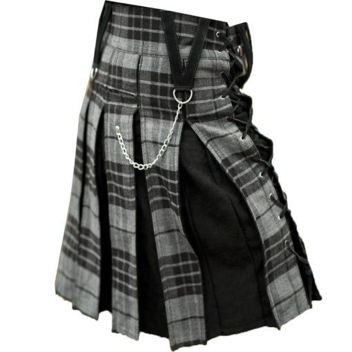 Gunn tartan, Black kilt, Gunn Tartan Black Hybrid Kilt, Hybrid Kilts