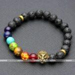 Lava Rock Stone Bead Buddha Skull Hamsa Hand Evil Eye Bracelet-7-stone-gold-lion